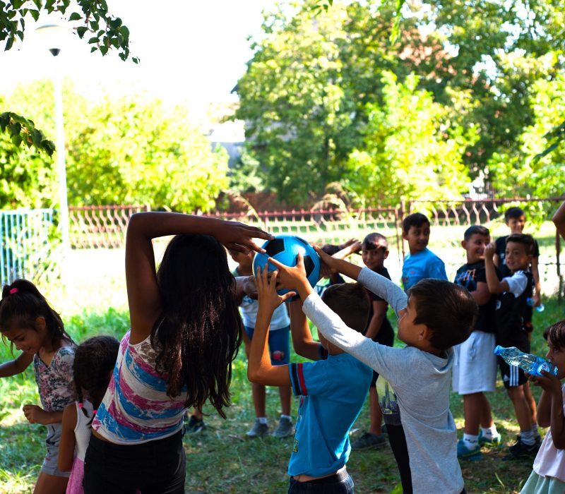 Children from Adice participating in an outdoor team building activity