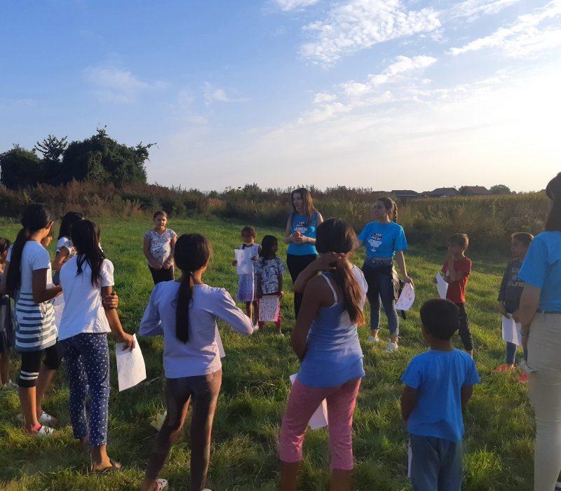 Children from Klisa participating in an outdoor workshop